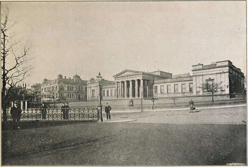 General view of Dundee High School entitled 'HIGH SCHOOLS 1909', taken from 'Dundee Past and Present' published by William Kidd & Sons.
