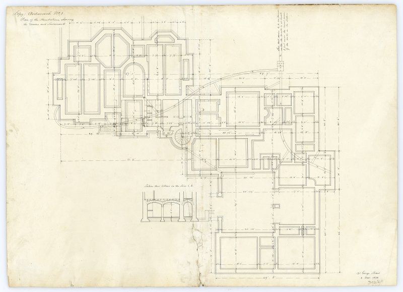 Drawing showing plan of the foundations, Ardarroch House.