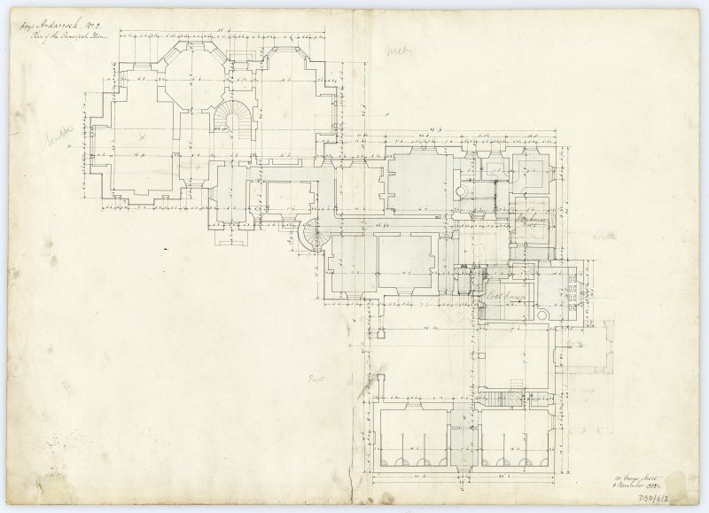 Drawing showing plan of the principal floor, Ardarroch House.