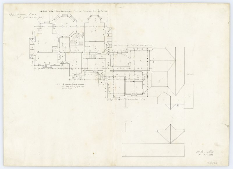 Drawing showing plan of the bedroom floors, Ardarroch House.