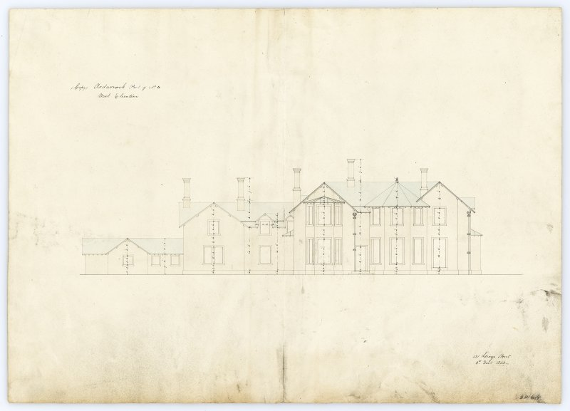 Drawing showing west elevation, Ardarroch House.