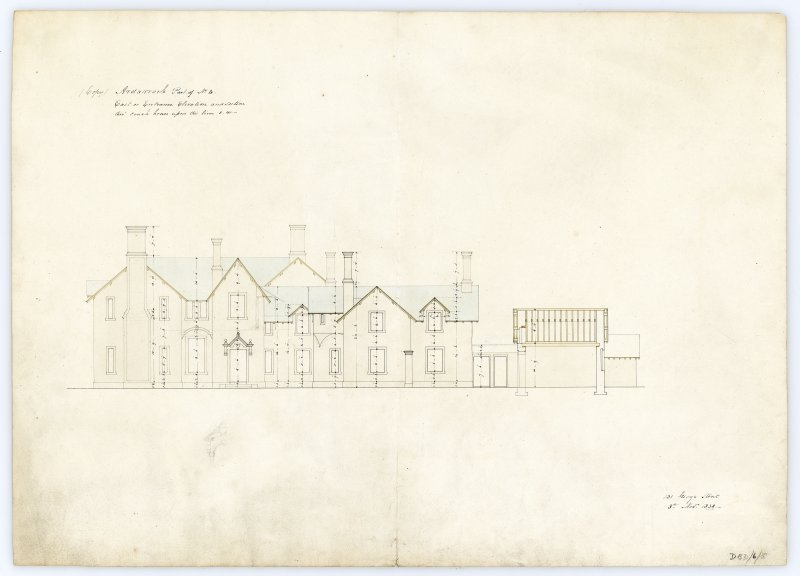 Drawing showing east elevation and section of coach house, Ardarroch House.