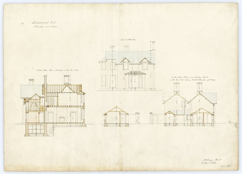 Drawing showing south elevation and sections, Ardarroch House.
