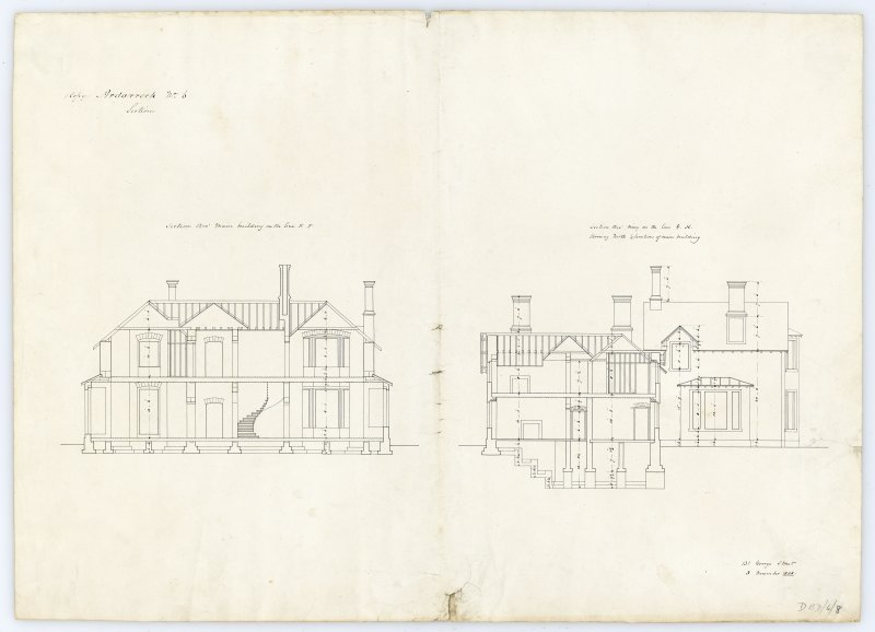 Drawing showing sections, Ardarroch House.