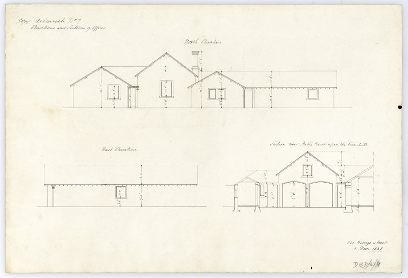 Drawing showing elevations and sections of offices, Ardarroch House.