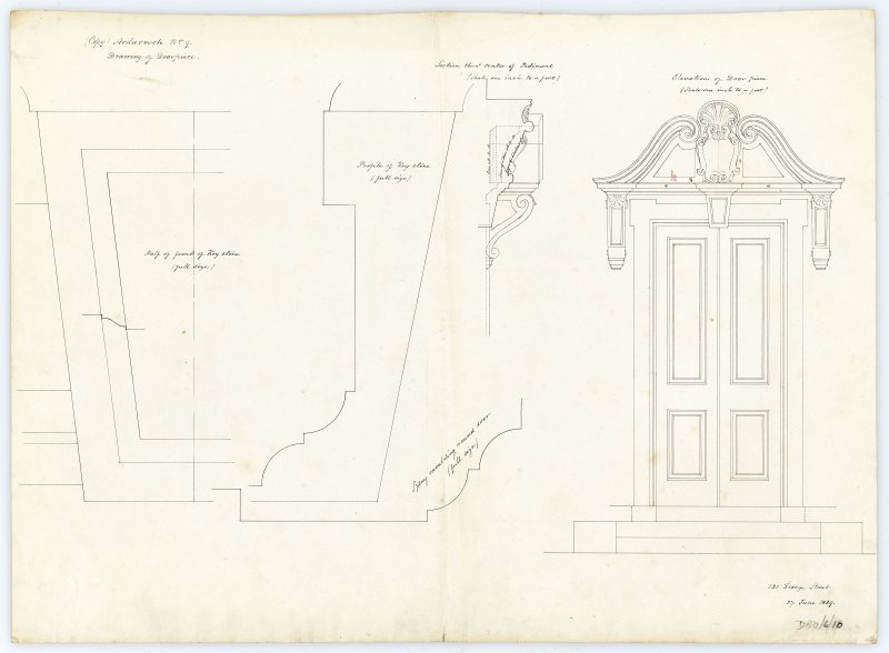 Drawing showing details and elevation of door piece, Ardarroch House.
