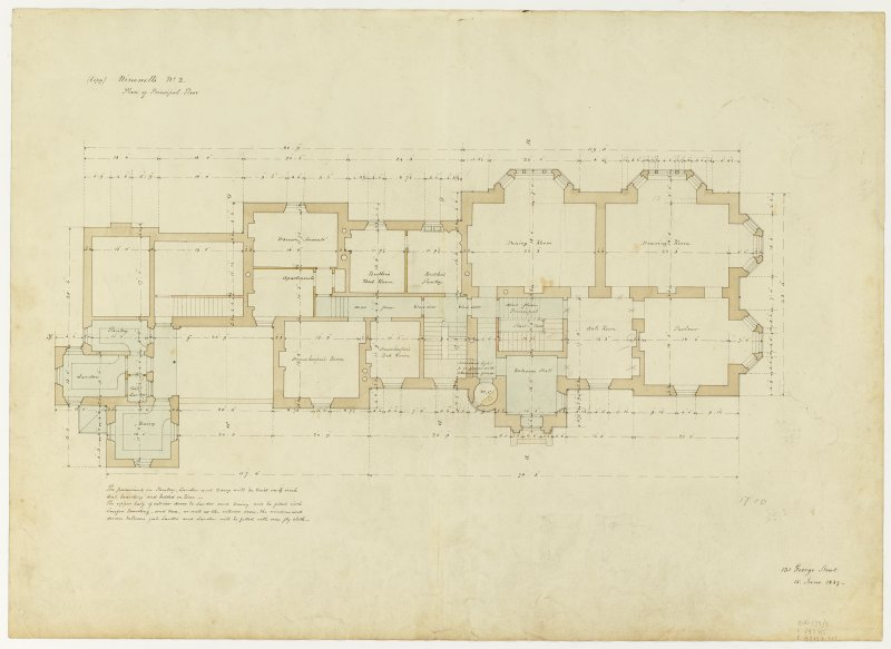 Drawing showing plan of principal floor, Ninewells House.
