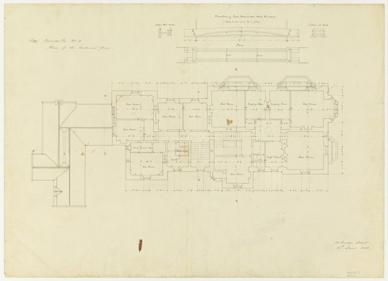 Drawing showing plan of bedroom floor and details of iron beam over oriel windows, Ninewells House.