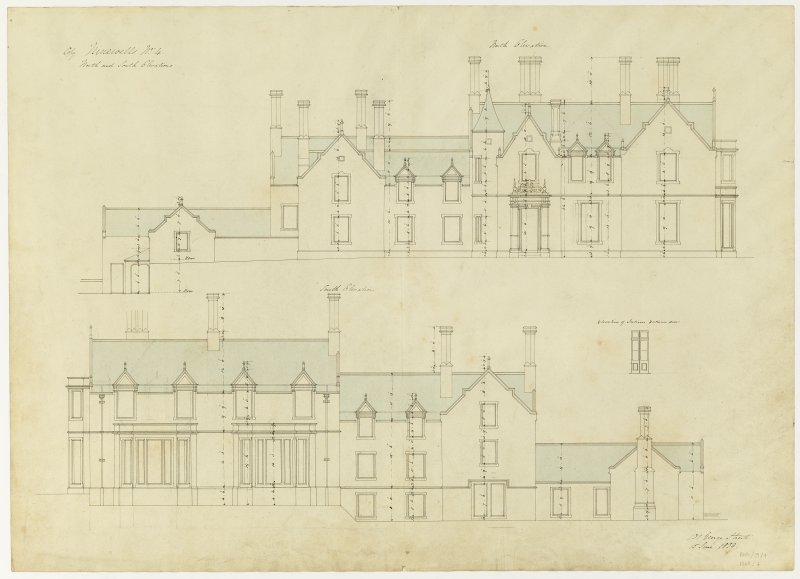 Drawing showing north and south elevations, Ninewells House.