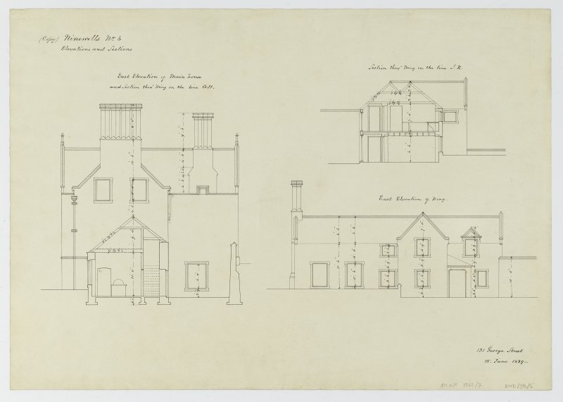 Drawing showing elevations and sections, Ninewells House.