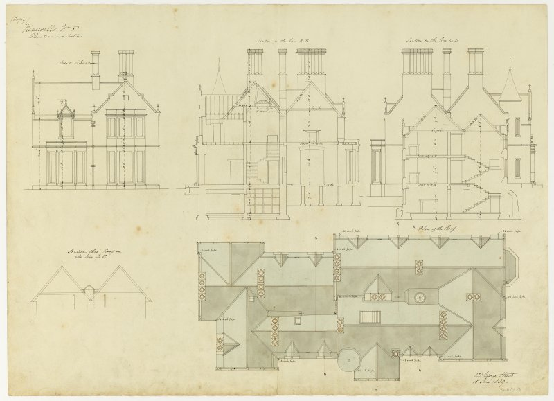 Drawing showing elevations and sections and plan of roof, Ninewells House.