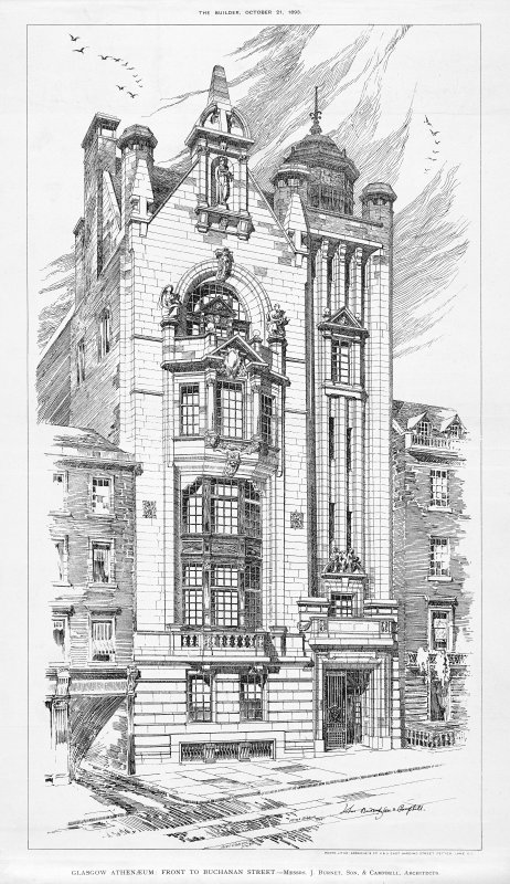Perspective view, insc: 'The Builder, October 21, 1893.  GLASGOW ATHENAEUM: FRONT TO BUCHANAN STREET - Messrs. J. Burnet, Son, & Campbell, Architects.   A. McGibbon del. Photo-litho: Sprague & Co. 4 & 5 East Harding Street, Fetter Lane E.C.  Royal Academy Exhibition, 1893'