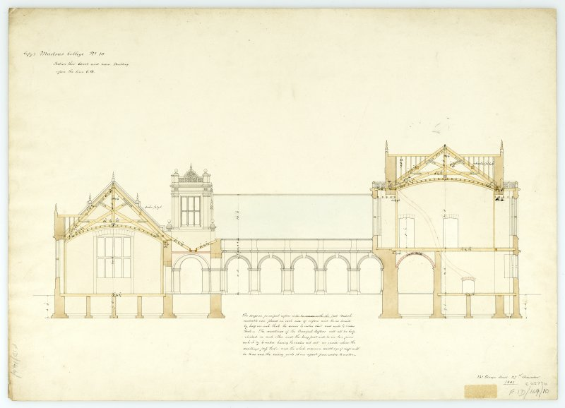 Section thro' court & main bldg. With measurements (Wm.Burn) 131 George St.Edin.1831