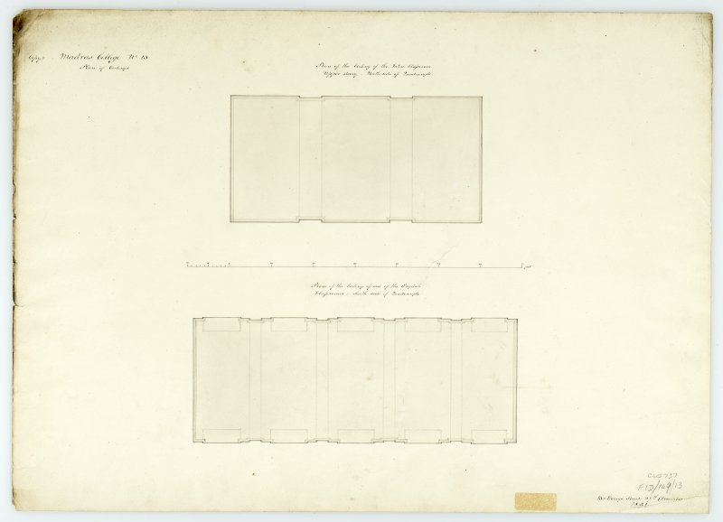 Plans of ceilings (Latin class room & English class room). With measurements (Wm.Burn) 131 George St.Edin.1831