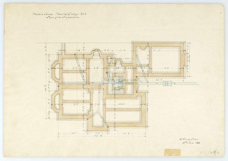 Masters House - Plan of foundations. With measurements (Wm.Burn) 131 George St.Edin.1833
