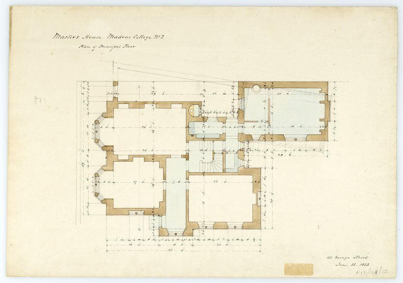 Masters House - plan of principal floor. With measurements (Wm.Burn) 131 George St.Edin.1833