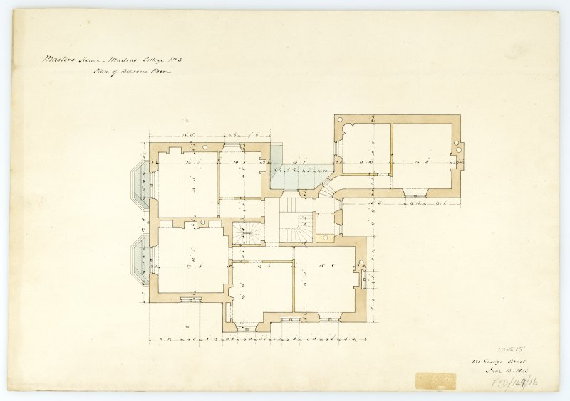 Masters House - Plan of bedroom floor. With measurements (Wm.Burn) 131 George St.Edin.1833