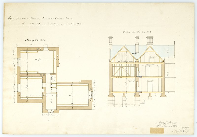 Masters House - Plan of attic & section. With measurements (Wm.Burn) 131 George St.Edin.1833
