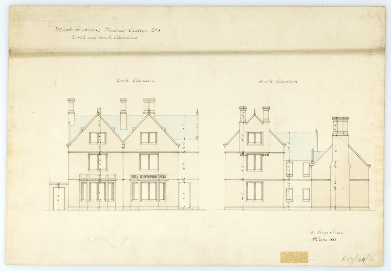 Masters House - N. & S. elevations. With measurements (Wm.Burn) 131 George St.Edin.1833