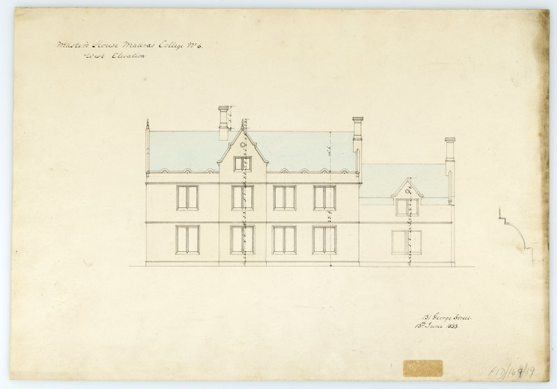 Masters House - W. elevation. With measurements (Wm.Burn) 131 George St.Edin.1833