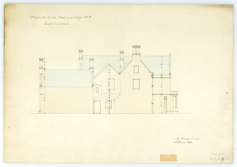 Masters House - E. elevation. With measurements (Wm.Burn) 131 George St. 1833
