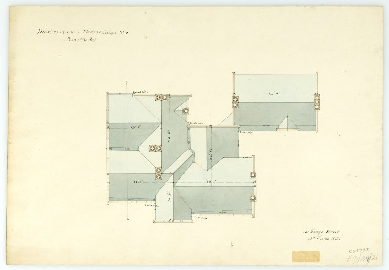 Masters House - Plan of roof. With measurements (Wm.Burn) 131 George St. 1833