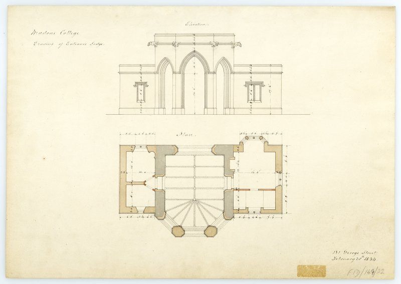 Entrance Lodge - Plan, Elevation. With measurements (Wm.Burn) 131 George St. 1833