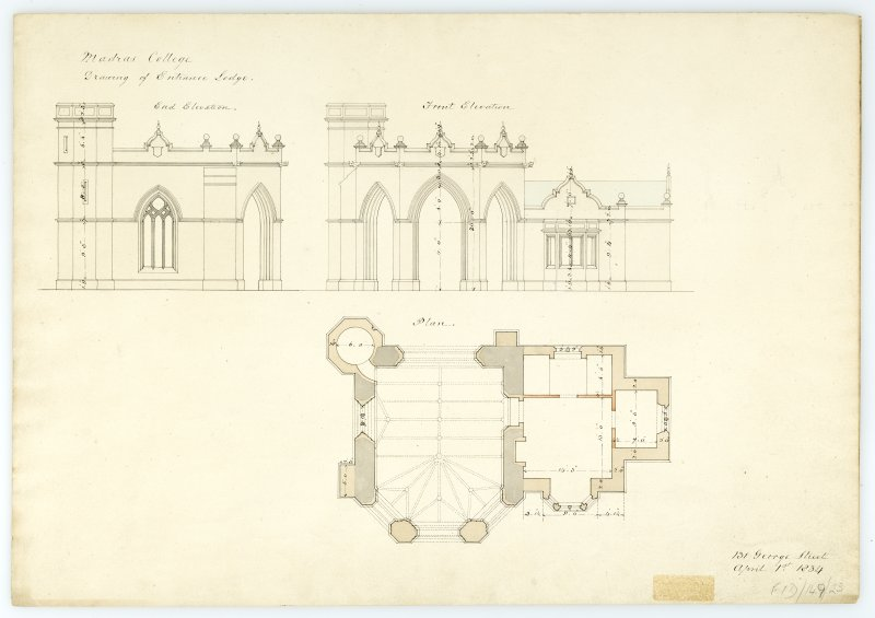 Entrance Lodge, Plan, Elevations. With measurements (Wm.Burn) 131 George St. 1833