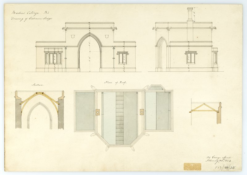 Entrance Lodge - Elevations, sections, plan of roof. With measurements (Wm.Burn) 131 George St. 1833