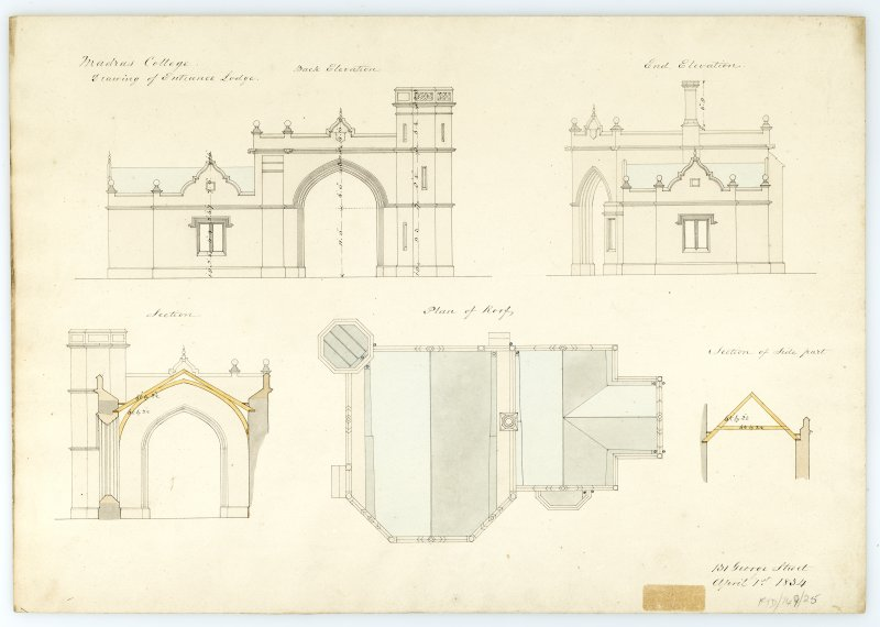 Entrance Lodge - Plan of roof; Elevations; section. With measurements (Wm.Burn) 131 George St. 1834