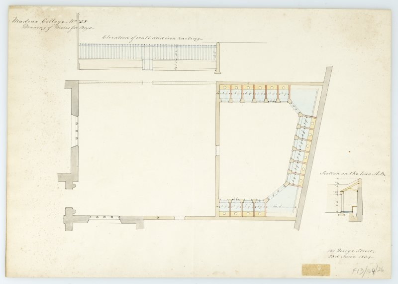 Privies for boys. Plan; elevation of wall & iron railing; section. With measurements (Wm.Burn) 131 George St. 1834