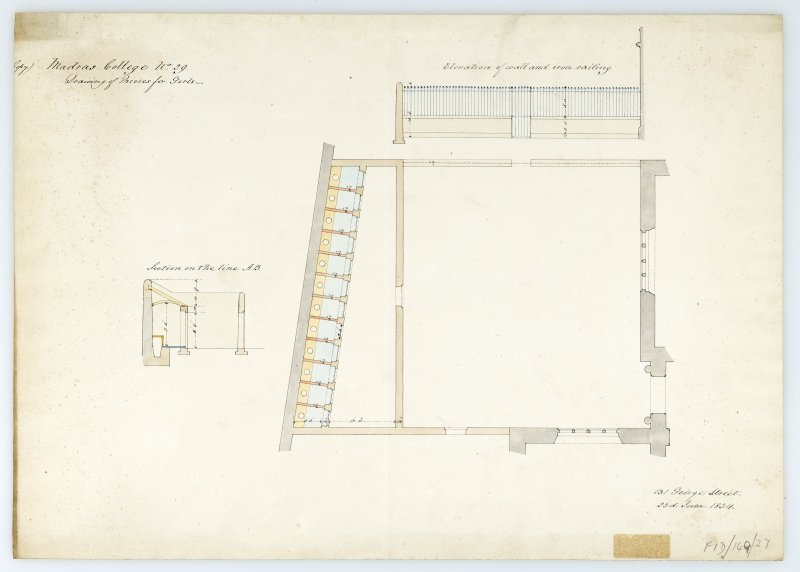Privies for girls. Elevation of wall & iron railing; plan; section. With measurements (Wm.Burn) 131 George St. 1834