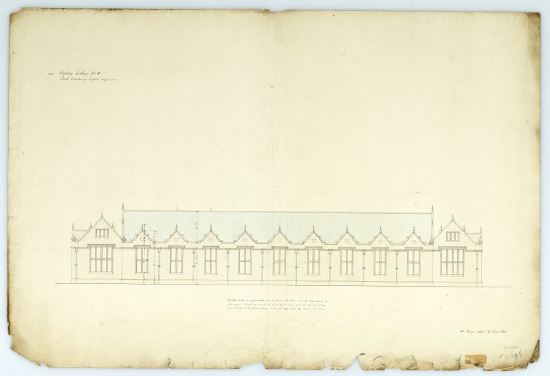 S.elevation of English class room. With measurements (Wm.Burn) 131 George St.Edin.1831