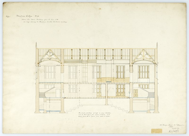 Section thro' main bldg. With measurements (Wm.Burn) 131 George St.Edin.1831