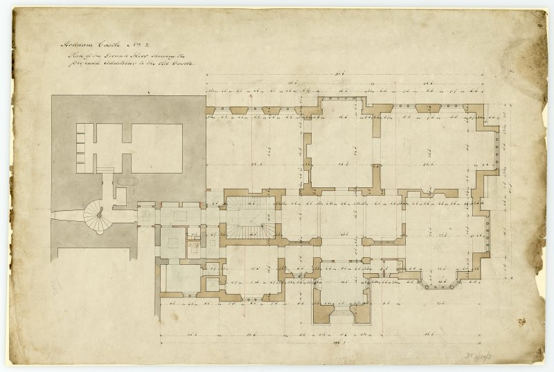 Drawing of ground floor plan showing proposed additions and alterations to tower house, Hoddom Castle.