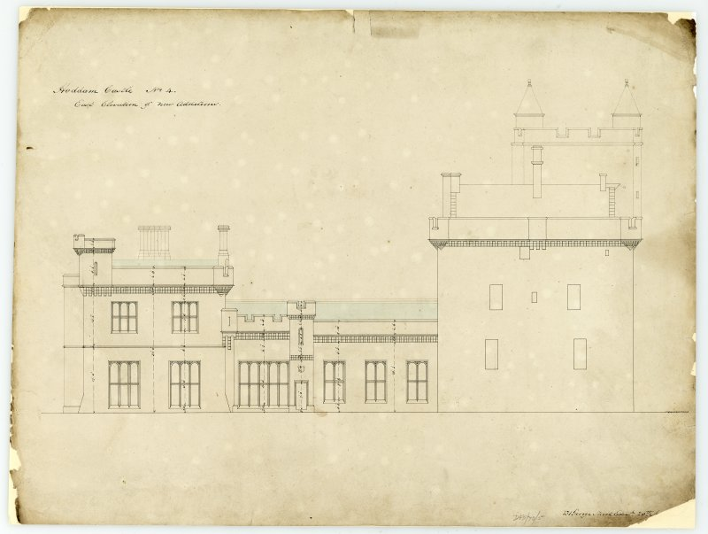 Drawing showing east elevation of new additions, Hoddom Castle.