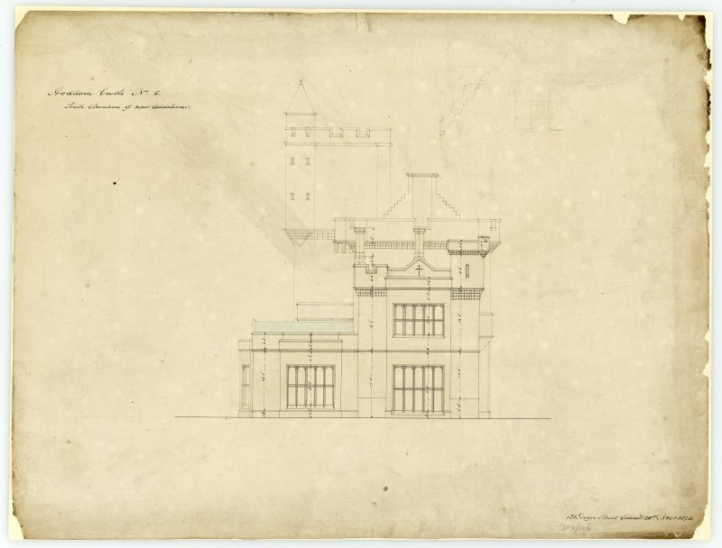 Drawing showing south elevation of new additions, Hoddom Castle.