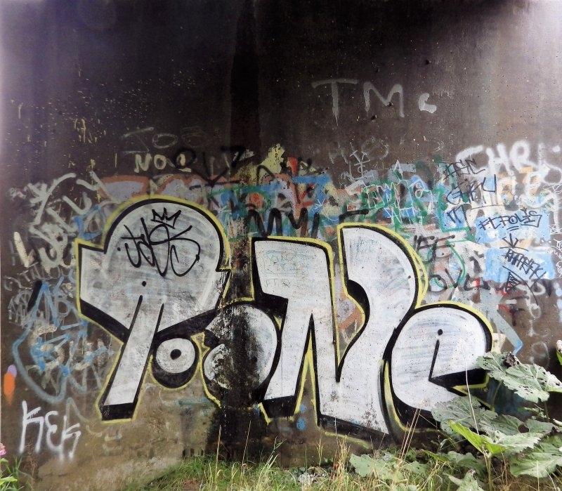 A view of some of the graffiti on the concrete abutments of the footbridge.