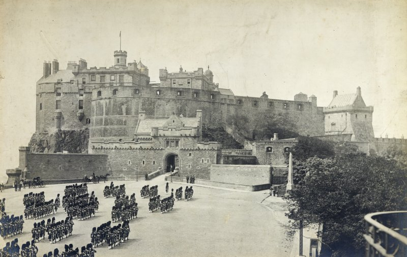 View of Edinburgh Castle showing Billing's building in situ prior to the building of the Scottish National War Memorial.