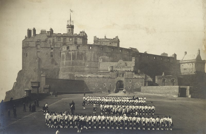 Photographic view of Edinburgh Castle showing Billing's Building in situ with pencil annotations to the royal palace tower.