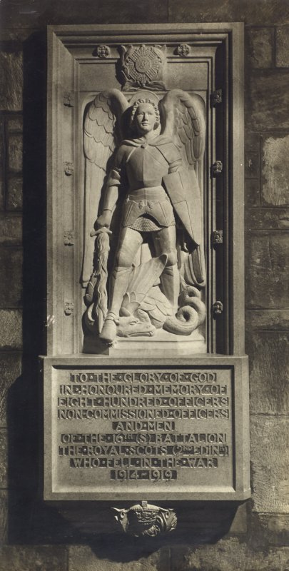 View of stone war memorial panel to the memory of the 16th batallion of the Royal Scots (2nd Edinburgh), St Giles Cathedral, Edinburgh.