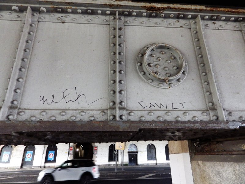 View from S of graffiti on underside of the west side of the N end of the viaduct.