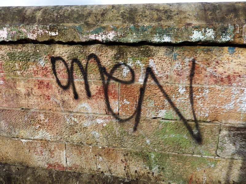 Graffiti on wall at the west end of the graving docks.