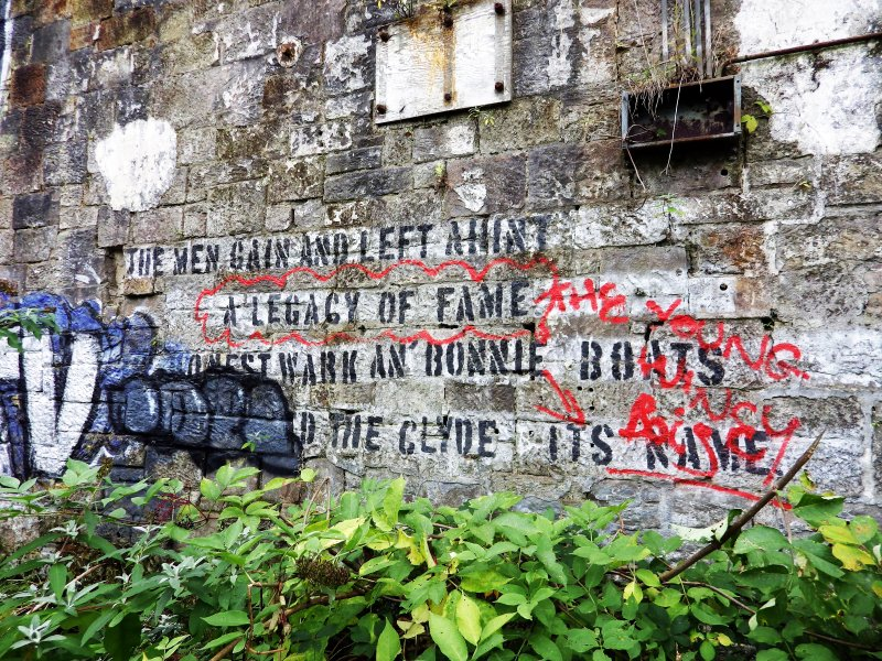 Example of graffiti on the walls (internal and external) of pump house standing on N side of graving dock no. 1.