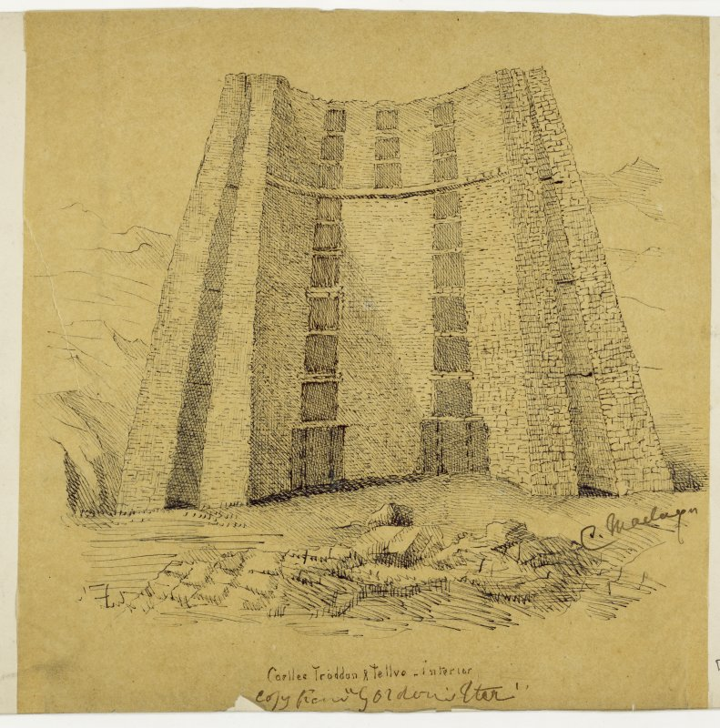 Drawing of the interior of Dun Telve broch
