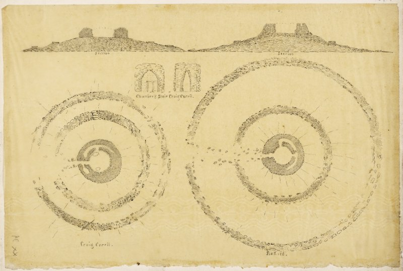 Plans of Craig Carrol and Backies brochs.