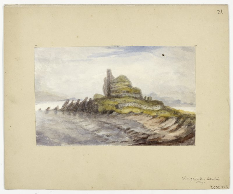 Watercolour view of Dunyvaig Castle.