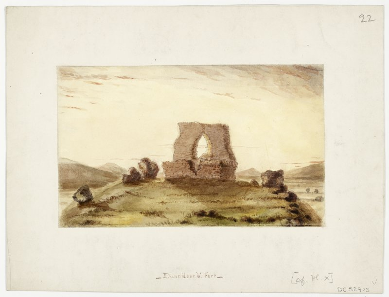 Watercolour view of Dunnideer castle.