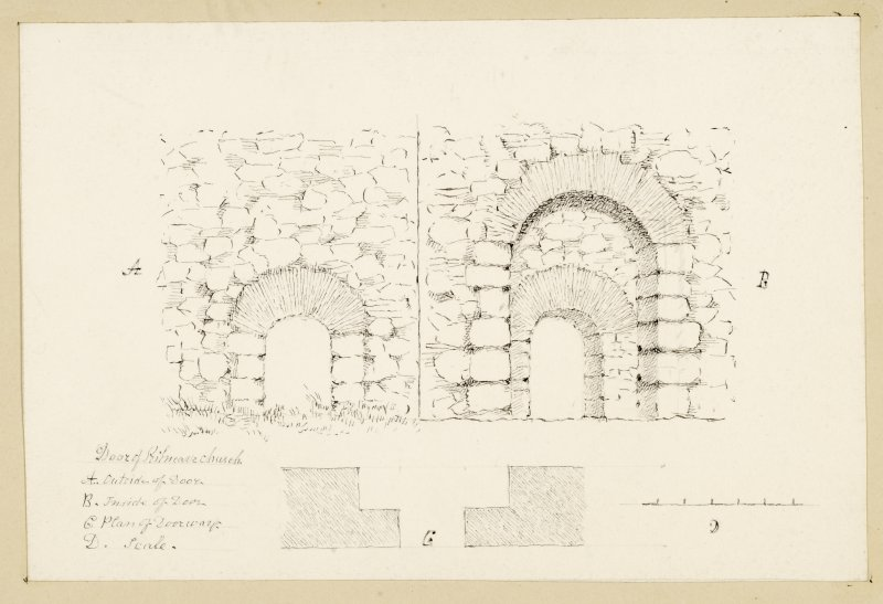 Drawings of door of Kilnave church.