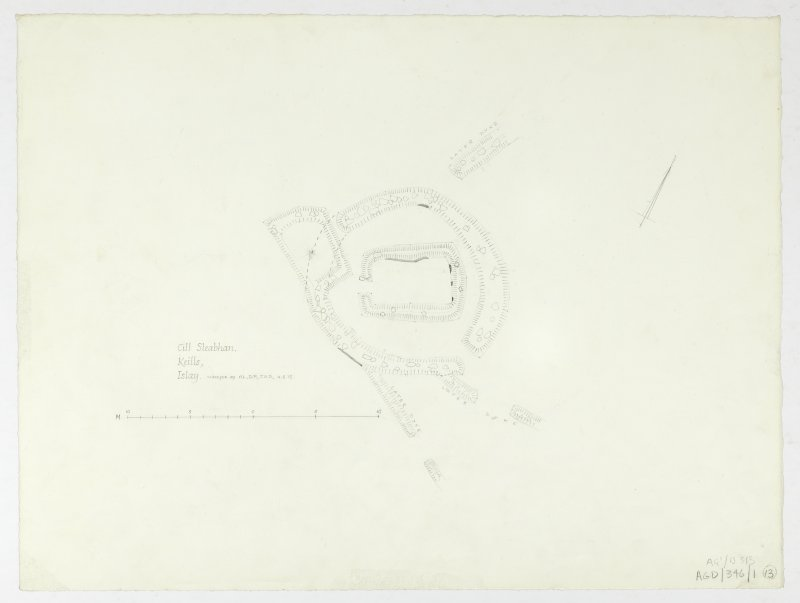 Survey drawing; plan of chapel and burial-ground.   Pencil on paper.